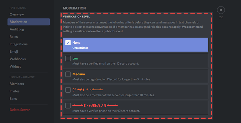 what are verification levels discord