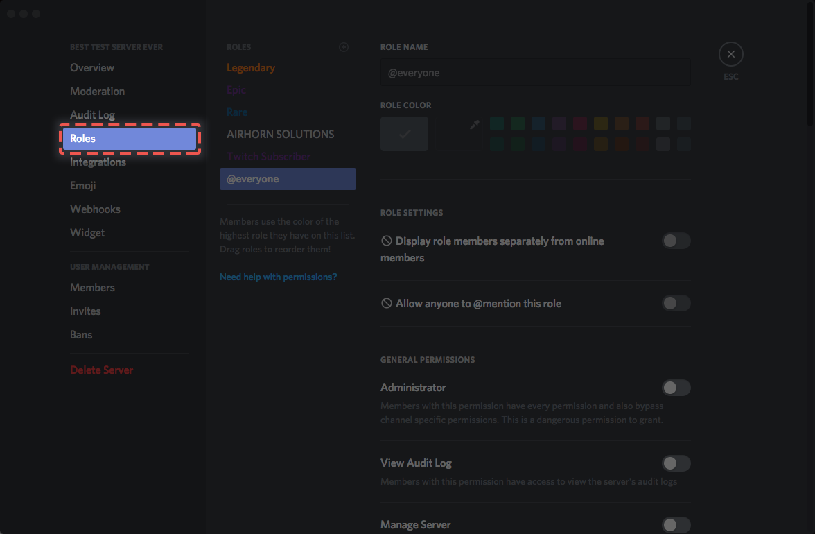 How do i set up permissions discord when you first create your server there is only one pre made role everyone the everyone role defines the permissions that are enabled for everyone on biocorpaavc Images