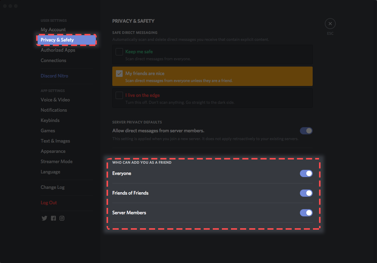 Blocking & Privacy Settings – Discord