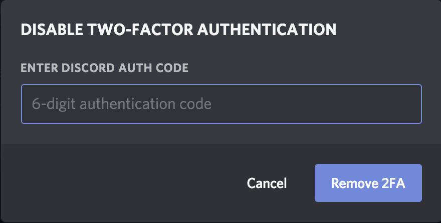 Lost Two-Factor Codes – Discord