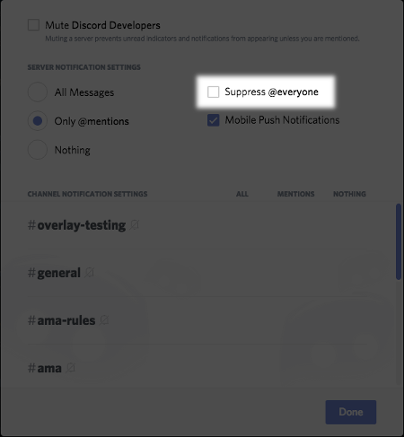 How do I stop @everyone mentions from select servers? – Discord